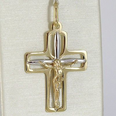 PENDENTIF CROIX OR JAUNE BLANC 750 18K, AVEC LE CHRIST, LUMINEUX, MADE IN ITALY