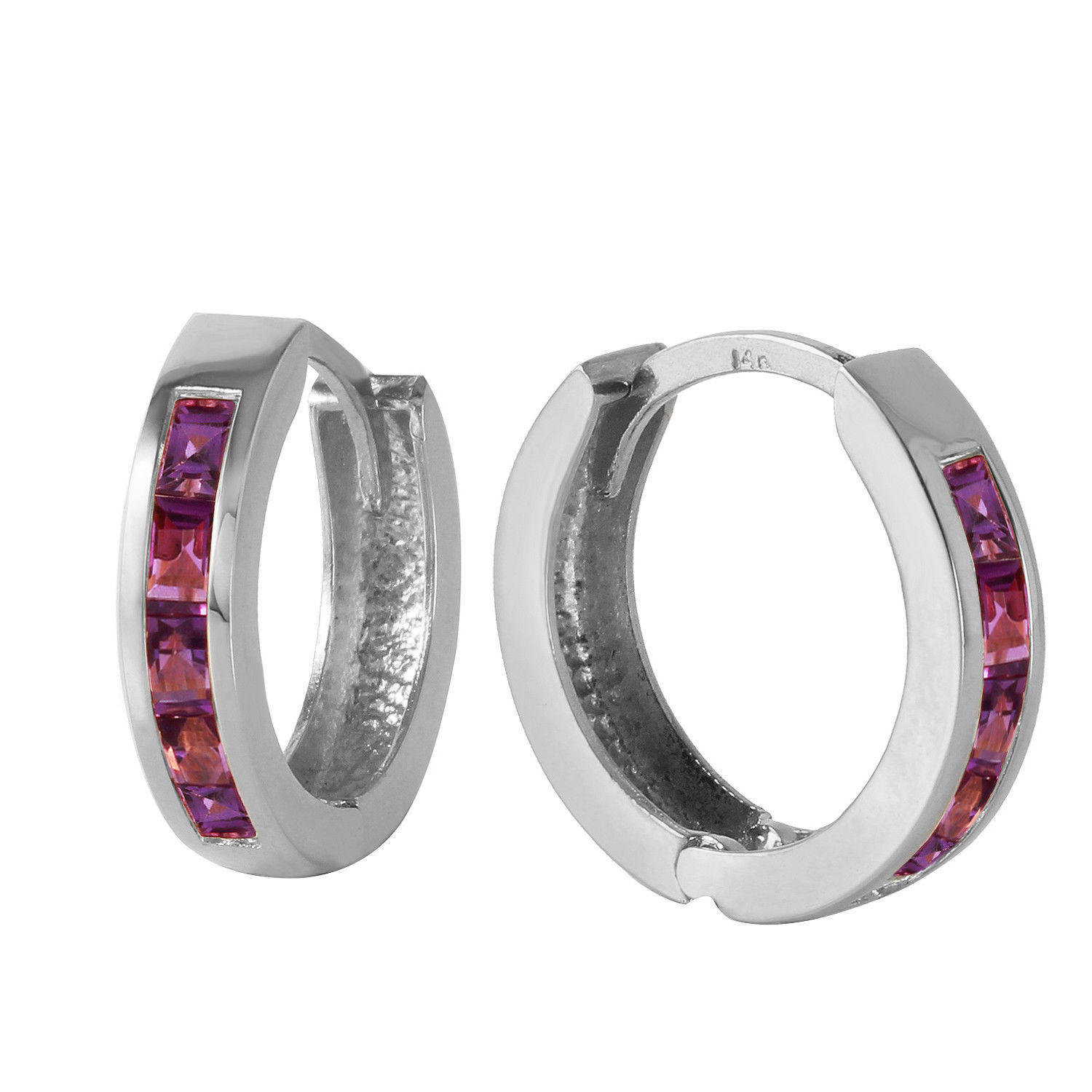 Primary image for 14K Solid White Gold Womens Hoop Huggie Fashion Earrings Purple Amethyst 0.85 Ct