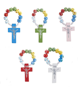 50 PACK WOODEN ROSARY RINGS WITH ASSORTED COLOR CROSSES - $58.20