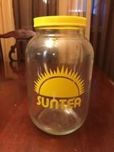 Vintage SUNTEA Gallon Jar-Glass Yellow Lid - $20.68