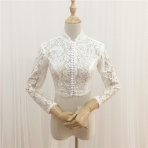 Ivory Long Sleeve Button Down Lace Shirt-Retro Floral Lace Bridal Crop-Lace Tops image 2