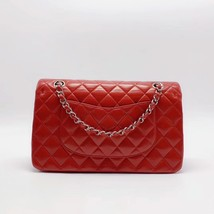 AUTHENTIC Chanel RED Quilted LAMBSKIN MEDIUM DOUBLE FLAP BAG SILVERTONE HW image 2