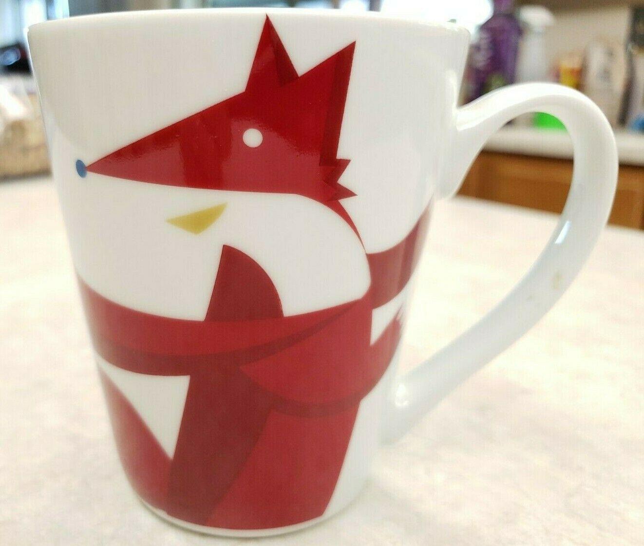 Starbucks Mug  2012 Red Fox Scarf Dove Coffee Tea Mug