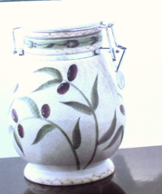 "Oneida Oliveto Large  8"" canister with snap lock lid, hand painted, New - $9.89"