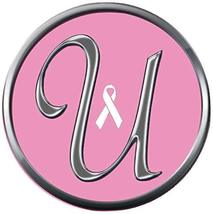 Monogram Alphabet Silver Letter U Pink Breast Cancer Ribbon 18MM-20MM Snap Charm - $5.95