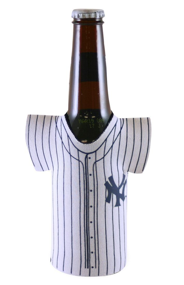 2 NEW YORK YANKEES BEER SODA WATER BOTTLE JERSEY KOOZIE HOLDER MLB BASEBALL