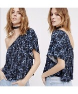 Free People Crop Top Size Small Womens Ocean Avenue Blue One Shoulder  - $28.86