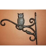 Cast Iron Owl Plant Hanger, Rustic Brown Wall Mount - $9.89
