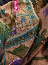 Vintage 1980s Scarf Autumn Floral w Purple Pink Rose Aqua on Brown Backg... - $29.70