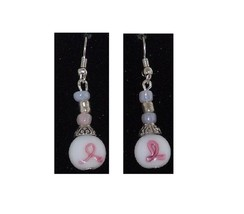 "Earrings Pink Ribbon White Beads White Silver Beads Sterling Wire 1 1/2""... - $13.00"