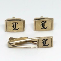Vintage Men's Hickok Gold Tone Monogrammed L Cufflink Tie Bar Clasp Set - $46.23