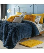 Navy Blue Bedding Faux Fu Shaggy With Sherpa King XL Winter Soft Warm Co... - $118.75