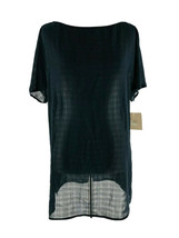 14th & Union Women's Black Short Sleeve Sheer Tunic Blouse Size Small NEW - $23.76