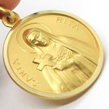 SOLID 18K YELLOW GOLD HOLY ST SAINT SANTA RITA ROUND MEDAL MADE IN ITALY, 17 MM image 3