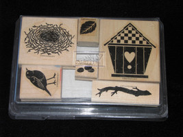 Stampin Up Definitely Decorative 1998 Nesting Place Bird Nest Branch Twig Eggs - $15.83