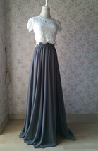 Split Maxi Chiffon Skirt Blue Gray White Wedding Chiffon Skirt Bridesmaid Outfit image 7
