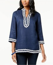 CHARTER CLUB  Blue Embroidered Linen Tunic Top 3/4 Sleeve Top MP Medium ... - $24.99