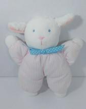 EDEN plush lamb rattle pink white striped blue polka dot bow baby sheep - $49.49