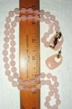 VTG ESTATE JAPAN 1940's KNOTTED PINK ROSE QUARTZ NECKLACE LUCITE EARRING... - $287.99