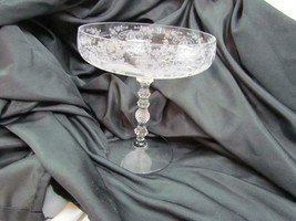 """Vintage Bohemia Clear Crystal Glass Etched Rock Stem 9"""" Tall - $23.74"""