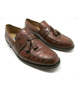 Johnston Murphy Mens Brown Leather Full Strap Croc Print Loafers Size US... - $43.22
