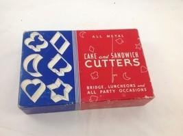 Vintage Bridge Club 6 All Metal Cake and Sandwich Cutters in original bo... - $24.30