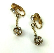 Vintage Rhinestone Clip On Earrings Danglers 60s 70s Mod - $7.91