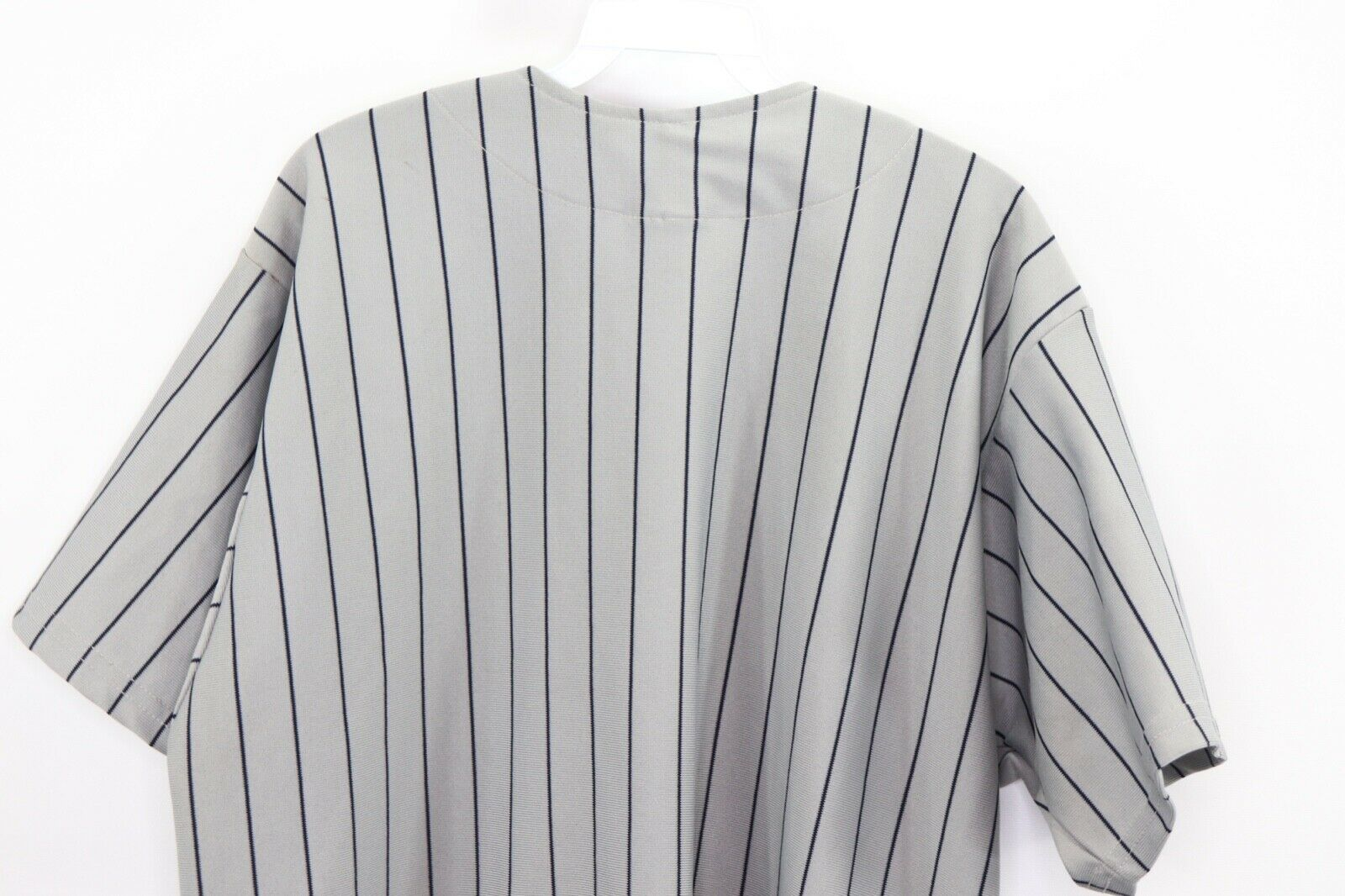 Vintage 90s Mens XL New York Yankees MLB Baseball Jersey Pinstripe Gray Blue