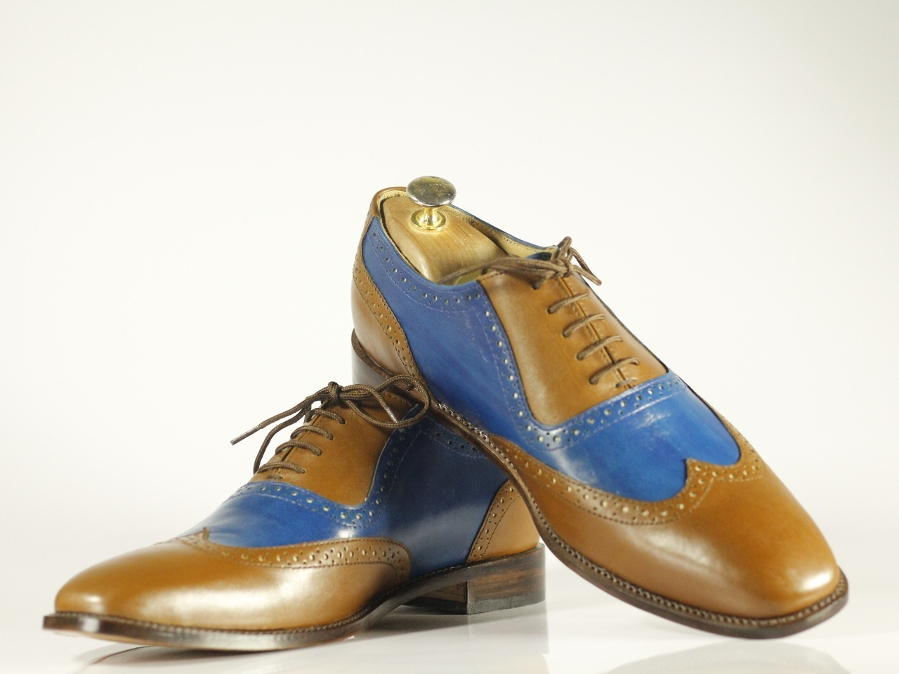 Handmade Brown & Blue Leather Wing Tip Dress/Formal Oxford Shoes