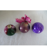 3 Red, Green, Purple, & White Glass Paint Inside Christmas Ornaments - $5.89