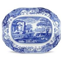 Spode Blue Italian Oval Platter White Translucent Porcelain Vibrant Colo... - $255.05