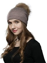 LITHER Winter Kintted Pom Pom Beanie Hats with Real Raccoon Fur Balls 1-... - $20.72