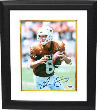 Chris Simms signed Texas Longhorns 8X10 Photo Custom Framed- PSA Hologram (orang