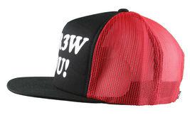 Kr3w Krew Black Red S'Kr3w You! FU Leather Strapback Trucker Baseball Hat NWT image 7