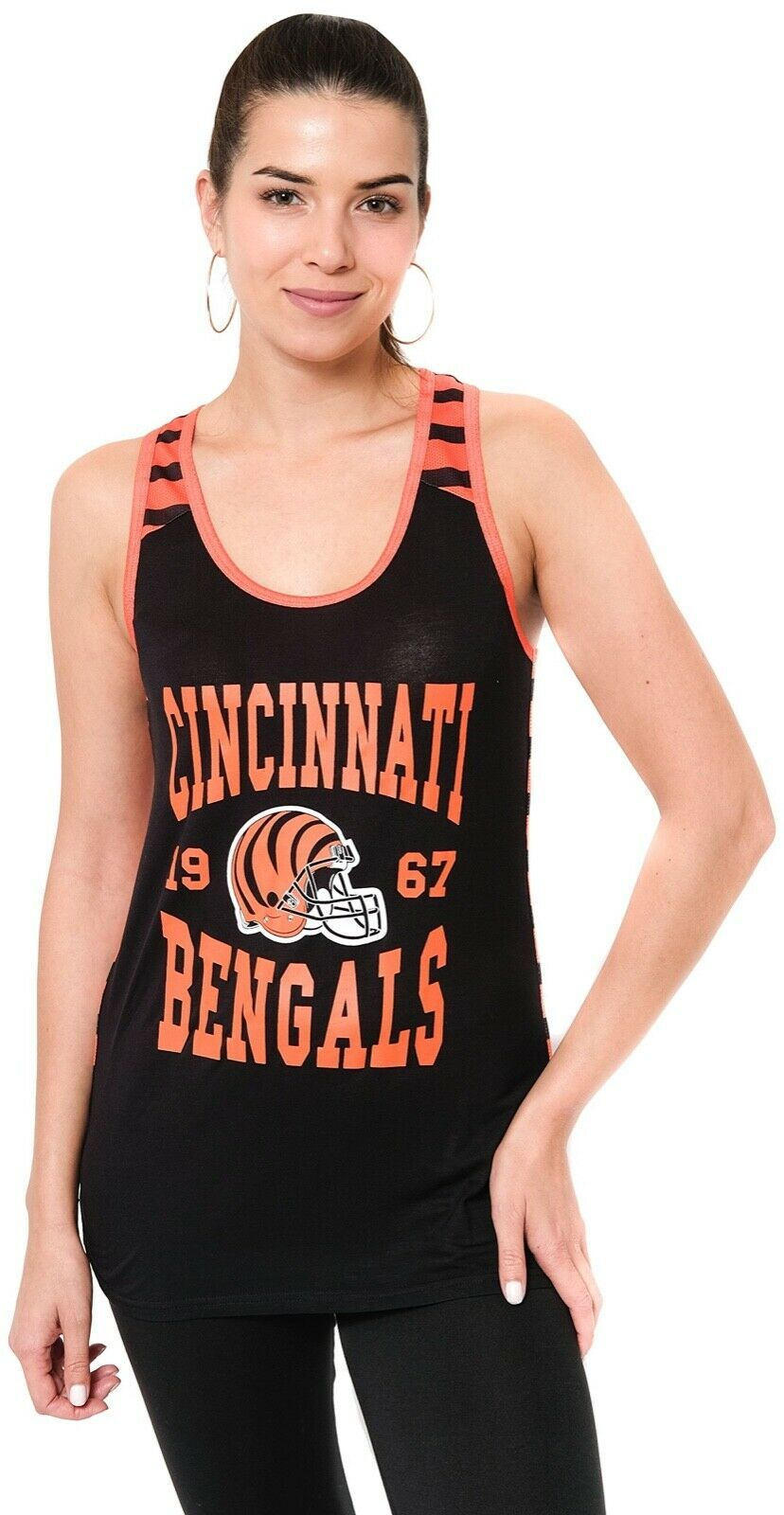 Cincinnati Bengals Striped Tank Top Women Sz S Racerback NFL Team Apparel C23-16 - $25.24