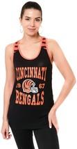 Cincinnati Bengals Striped Tank Top Women Sz S Racerback NFL Team Appare... - $25.24