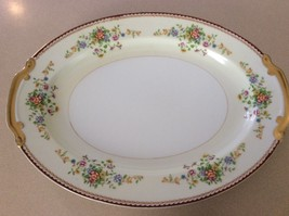 Vintage Laurel China Large Serving Platter Japan Flowers Gold Edge 16 x 12 - $16.83