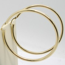 18K YELLOW GOLD ROUND CIRCLE EARRINGS DIAMETER 70 MM, WIDTH 3 MM, MADE IN ITALY image 2
