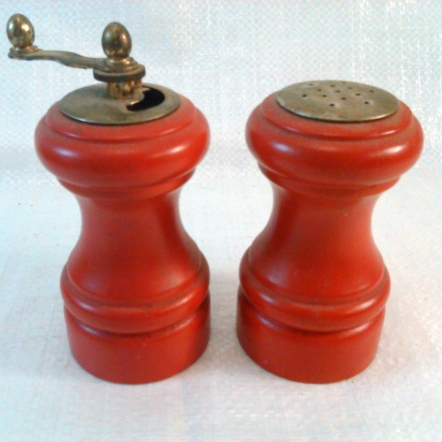 Vintage Wooden Salt Shaker and Pepper Mill Red