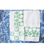 VINTAGE 1950s GREEN & WHITE COTTON HANDKERCHIEF W/ROOSTERS & POLKA DOT P... - $4.99