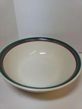 "Pfaltzgraff Juniper Round 8.5"" Vegetable Serving Bowl Burgundy Green Stripe - $14.99"