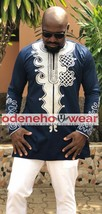 Odeneho Wear Men's  Polished Cotton Top/White Thread Embroidery.African Clothin - $84.15+