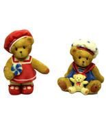 Cherished Teddies Paws for Patriotism Mini Figurines Americana Bears 118... - $24.45