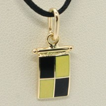 18K YELLOW GOLD NAUTICAL GLAZED FLAG LETTER L PENDANT CHARM MEDAL MADE IN ITALY image 1