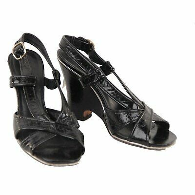 Primary image for Authentic Marc by Marc Jacobs Black Leather Wedge Sandals Shoes 39.5