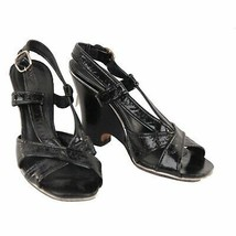 Authentic Marc by Marc Jacobs Black Leather Wedge Sandals Shoes 39.5 - $57.42