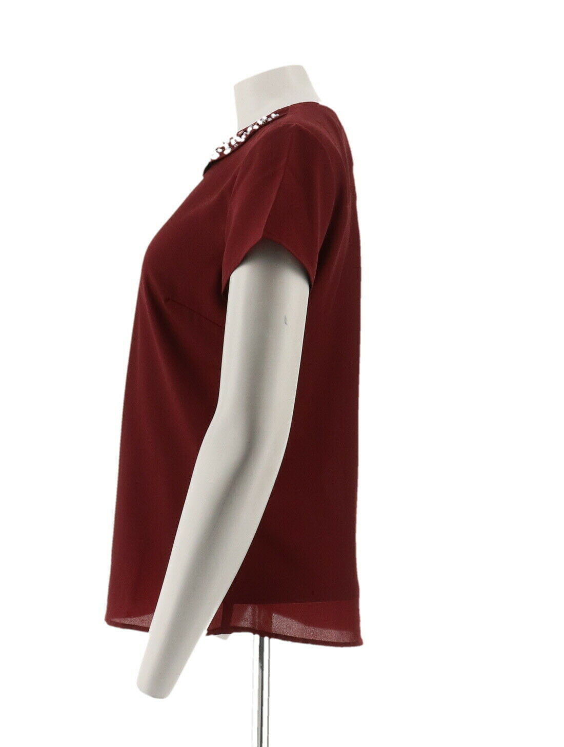 Dennis Basso Short Slv Top Embellished Peter Pan Collar Solid Wine 6 NEW A261457 image 2