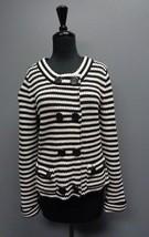 TALBOTS Thick White And Blue Striped Jacket W Pocket Size M Cotton SMA6997 - $29.67