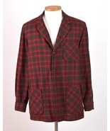 Vtg PENDLETON Red Shadow Plaid Wool Flannel Sport Coat Leather Elbow Jac... - $38.60