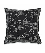 Farmhouse CHAKRA COTTON THROW PILLOW Country White Black Abstract Cushio... - £28.34 GBP